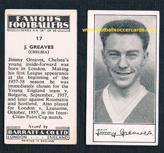 1958 Jimmy Greaves rookie Chelsea A6 series Barratt & Co trade card